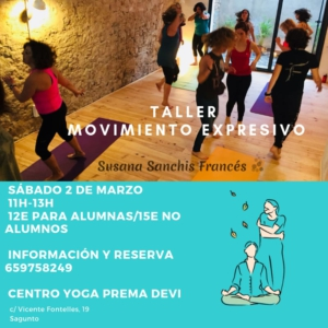 Cartel para el Taller de movimiento expresivo de Susana Sánchez Francis con uno de nuestros iconos